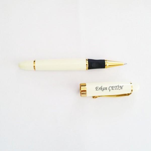 İsme Kişiye Özel Metal Beyaz Renk Kalın Roller Kalem