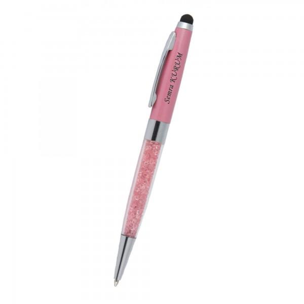 İsme Kişiye Özel Pembe Kristal Taşlı Tükenmez Kalem