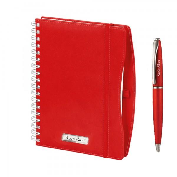 Kişiye Özel Termo Deri Kırmızı 2021 Ajanda Tükenmez Kalem Seti