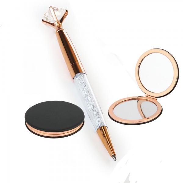 Elmas Taşlı Kalem Cep Aynası Set Yeni Yıl Hediyesi