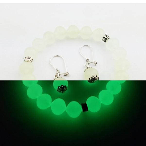 Karanlıkta Parlayan Fosforlu Bileklik Küpe Seti