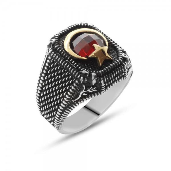 Lale Motifli Ayyıldız Tasarım Kırmızı Zirkon Taşlı 925 Ayar Gümüş Erkek Yüzük