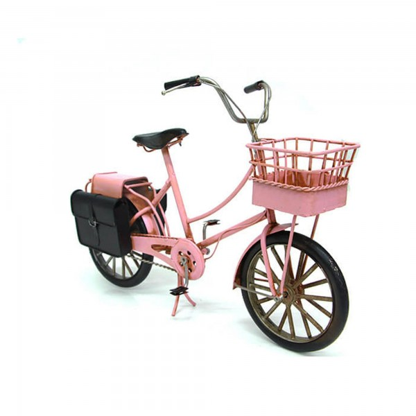Nostaljik Dekoratif Sepetli Metal Pembe Bisiklet Biblo