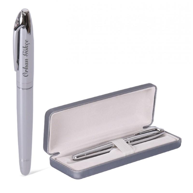 Özel Kutusunda İsme Kişiye Özel Gümüş Renk Roller Kalem