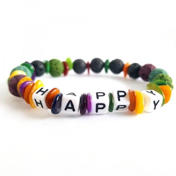 Özel Tasarım Renkli Happy Onix Lav Doğal Taş Bileklik Seti