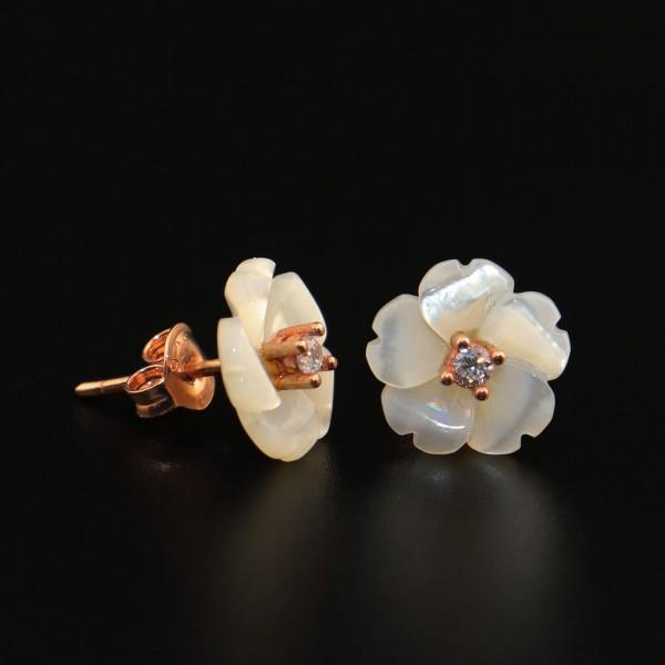 Pigado 925 Ayar Gümüş Sedef Taşlı Çiçek Figürlü Küpe