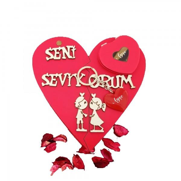 Seni seviyorum Yazılı Kalpli Kutu İsme Özel Ayna Anahtarlık Seti