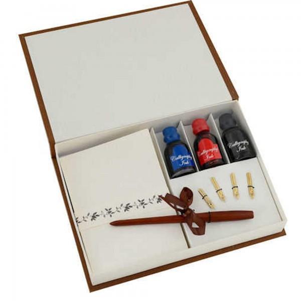 Steelpen Ahşap Kalem Özel Kagıt Üç Renk Mürekkepli Kaligrafi Seti