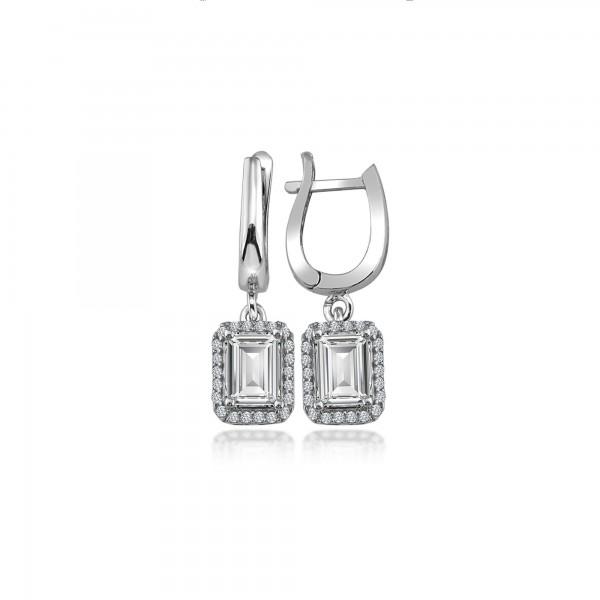 Swarovski Taşlı Baget Kare Gümüş Küpe Set Sertifikalı Qr Kod