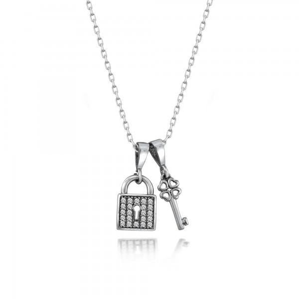 Swarovski Taşlı Kalp Kilidi Gümüş Bayan Kolye Sertifikalı Qr Kod