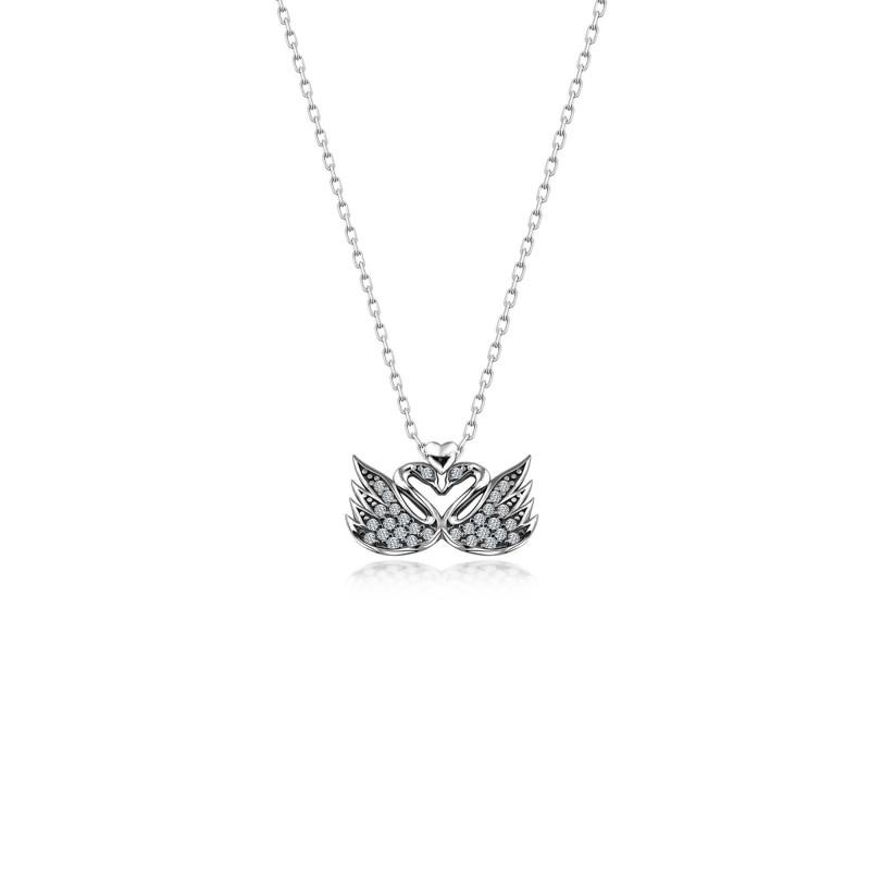 Çift Kuğu Aşk Gümüş Swarovski Taşlı Kolye Sertifikalı Qr Kod
